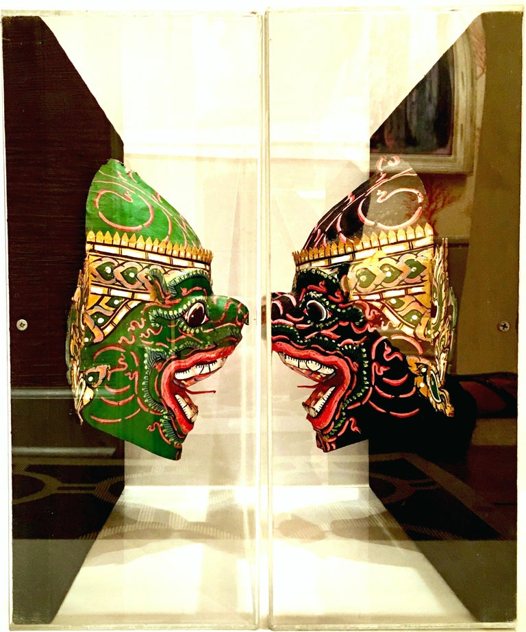Pair Of 20th Century Lucite Shadow Box Mounted Hand-Painted Tribal Masks In Good Condition For Sale In West Palm Beach, FL
