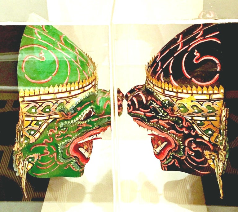 Pair Of 20th Century Lucite Shadow Box Mounted Hand-Painted Tribal Masks For Sale 1