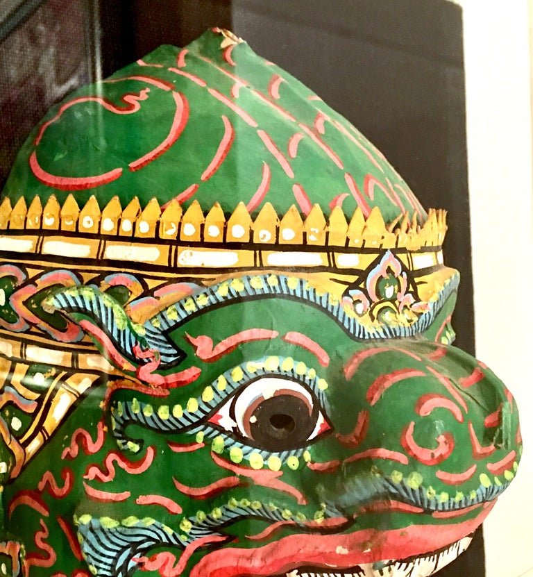 Pair Of 20th Century Lucite Shadow Box Mounted Hand-Painted Tribal Masks For Sale 4