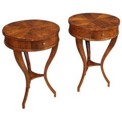 Pair of 20th Century Mahogany and Beech Wood French Round Bedside Tables, 1950