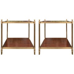 Pair of 20th Century Mahogany and Bronze Two-Tier Side Tables by Ralph Lauren