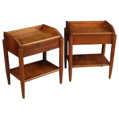 Pair of 20th Century Mahogany Ash and Fruitwood Italian Design Bedside Tables