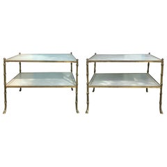 Pair of 20th Century Maison Baguès White Embossed Leather Top Two-Tier Tables