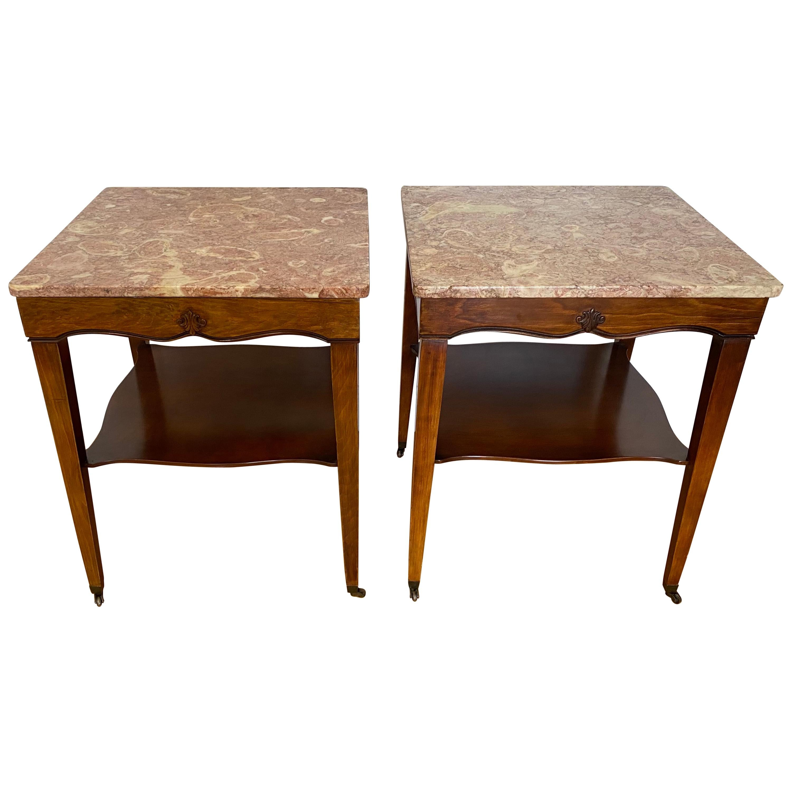 Pair of 20th Century Marble Top Side Tables