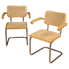 Pair of 20th Century Metal Wood and Cane Italian Design Armchairs, 1980