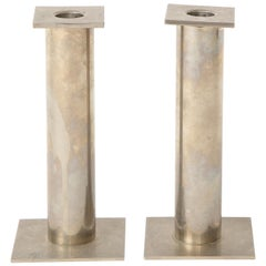 Pair of 20th Century Modernist Chrome Candle Holders