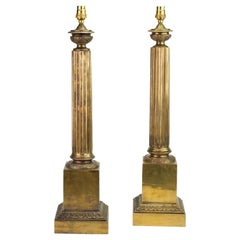 Pair of 20th Century Neo-Classical Brass Column Table Lamps