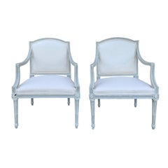 Pair of 20th Century Neoclassical Armchairs with Custom Finish