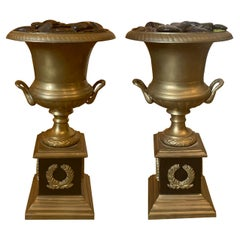 Pair of 20th Century Neoclassical Bronze Urns
