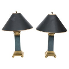Pair of 20th Century Neoclassical Column Table Lamps