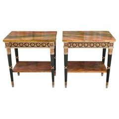 Pair of 20th Century Neoclassical Hand Painted One Drawer Side Tables