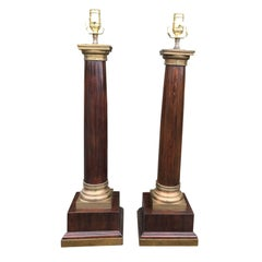 Pair of 20th Century Neoclassical Large Brass-Mounted Wooden Column Lamps