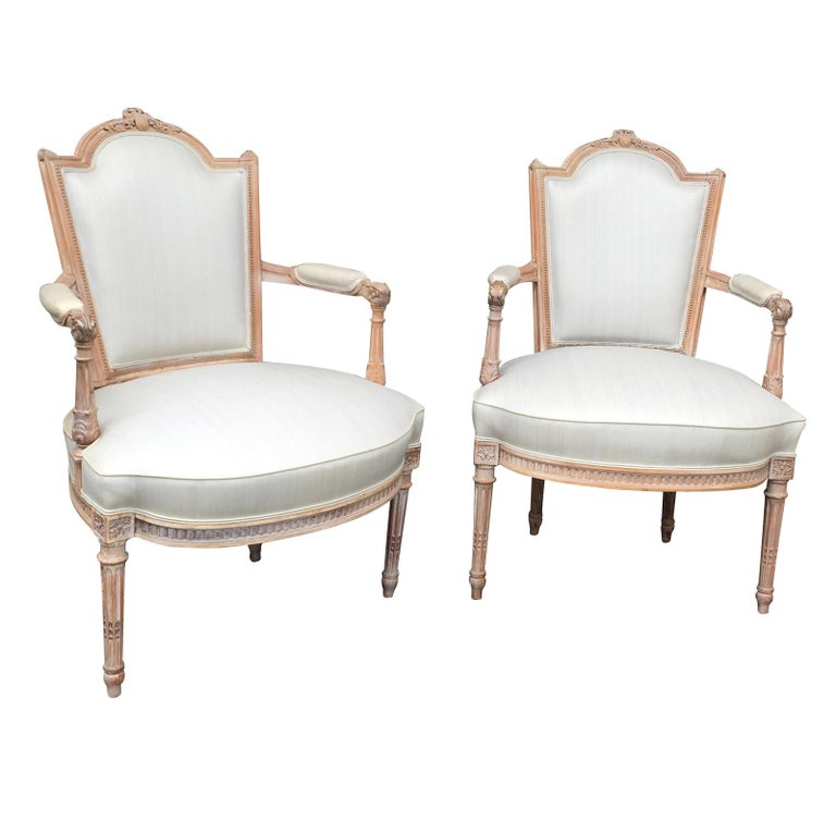 Pair of 20th Century Neoclassical Louis XVI Style Open Armchairs For Sale