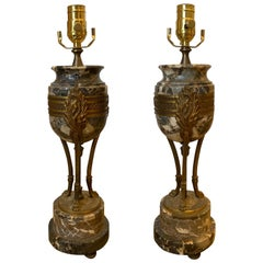 Pair of 20th Century Neoclassical Marble & Bronze Lamps