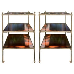 Pair of 20th Century Neoclassical Square Wood and Brass Three-Tier Side Tables