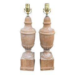 Pair of 20th Century Neoclassical Stripped Pine Lamps