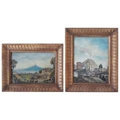 "Pair of 20th Century, Nice Napoletan Oil on Wood, Representing ""Vesuvio"""