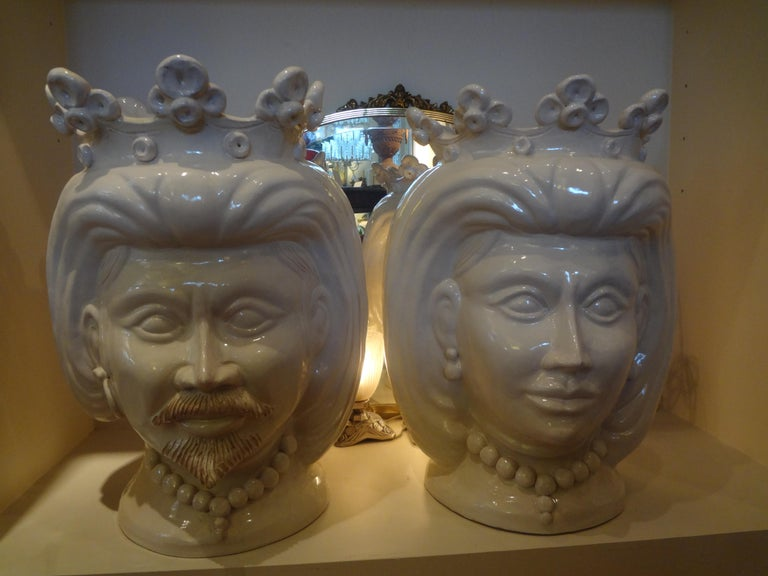 Monumental Pair of 20th Century of Italian Glazed Terracotta Bust Jardinières For Sale 8