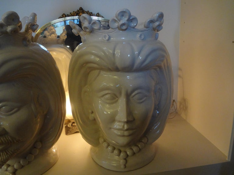 Monumental Pair of 20th Century of Italian Glazed Terracotta Bust Jardinières In Good Condition For Sale In Houston, TX