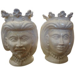 Pair of 20th Century of Italian Glazed Terracotta Bust Jardinières