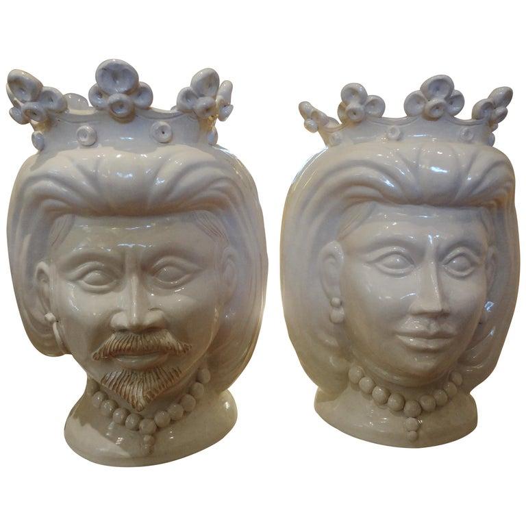 Monumental Pair of 20th Century Of Italian Glazed Terracotta Bust Jardinières For Sale