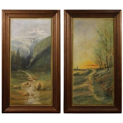 Pair of 20th Century Oil on Panel French Landscapes Paintings, 1950