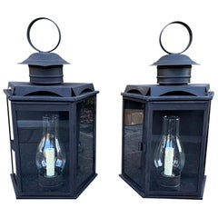 Pair of 20th Century Old Black Over Copper Wall Lanterns with Old Globes