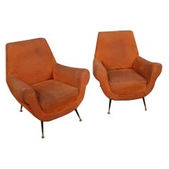 Pair of 20th Century Orange Fabric Italian Design Armchairs, 1960
