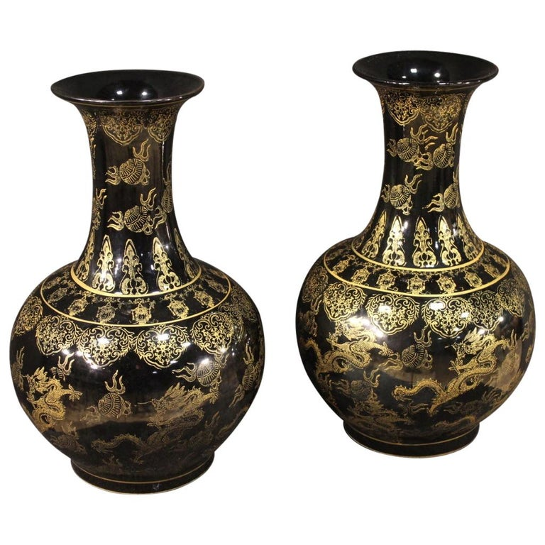 Pair of 20th Century Painted Ceramic Chinese Vases, 1950 For Sale