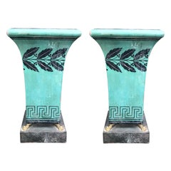 Pair of 20th Century Painted Green Tole Urns