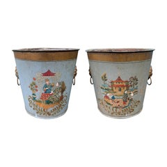 Pair of 20th Century Painted Tole Cachepots, Signed EDE