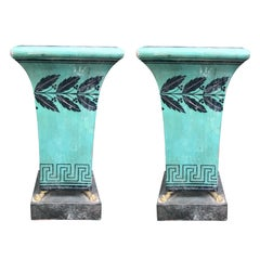 Pair of 20th Century Painted Tole Urns