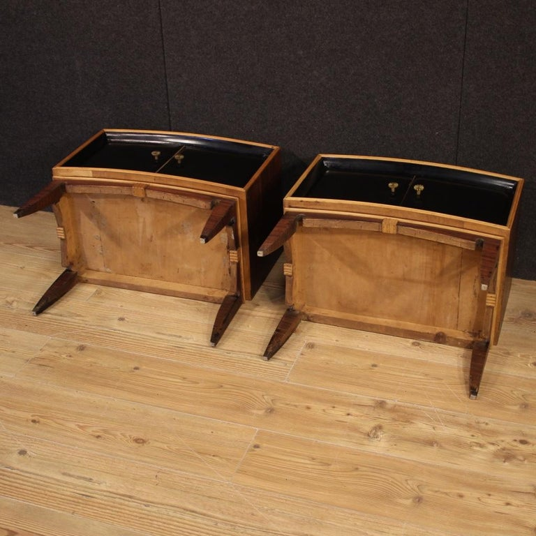 Pair of 20th Century Palisander Exotic Wood Italian Design Nightstands, 1960 For Sale 7