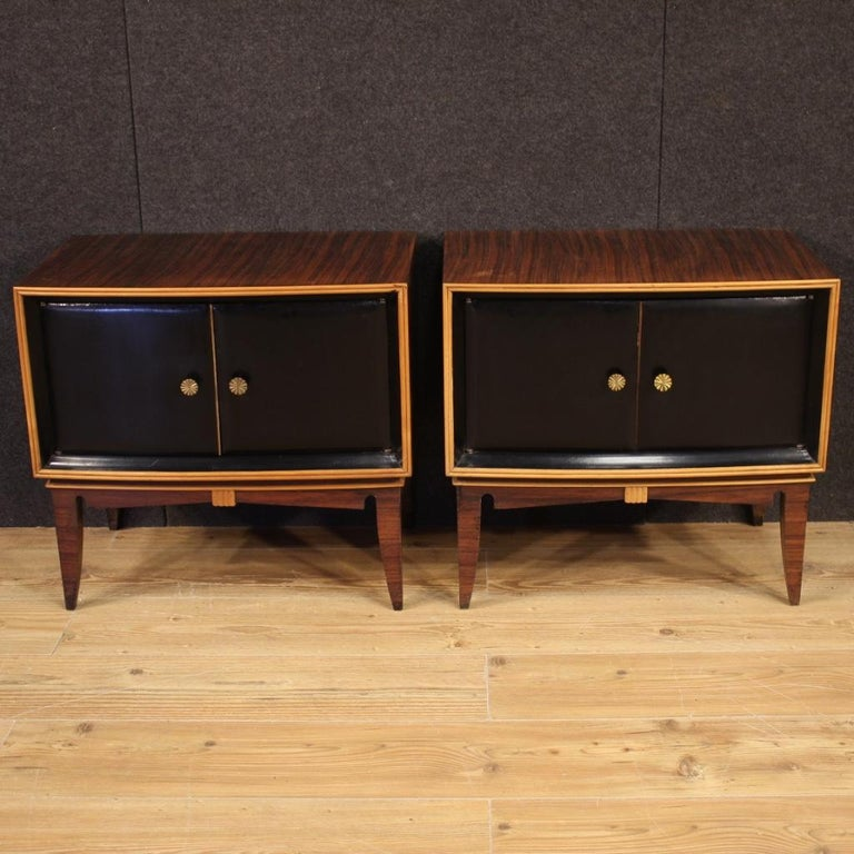 Pair of 20th Century Palisander Exotic Wood Italian Design Nightstands, 1960 For Sale 8