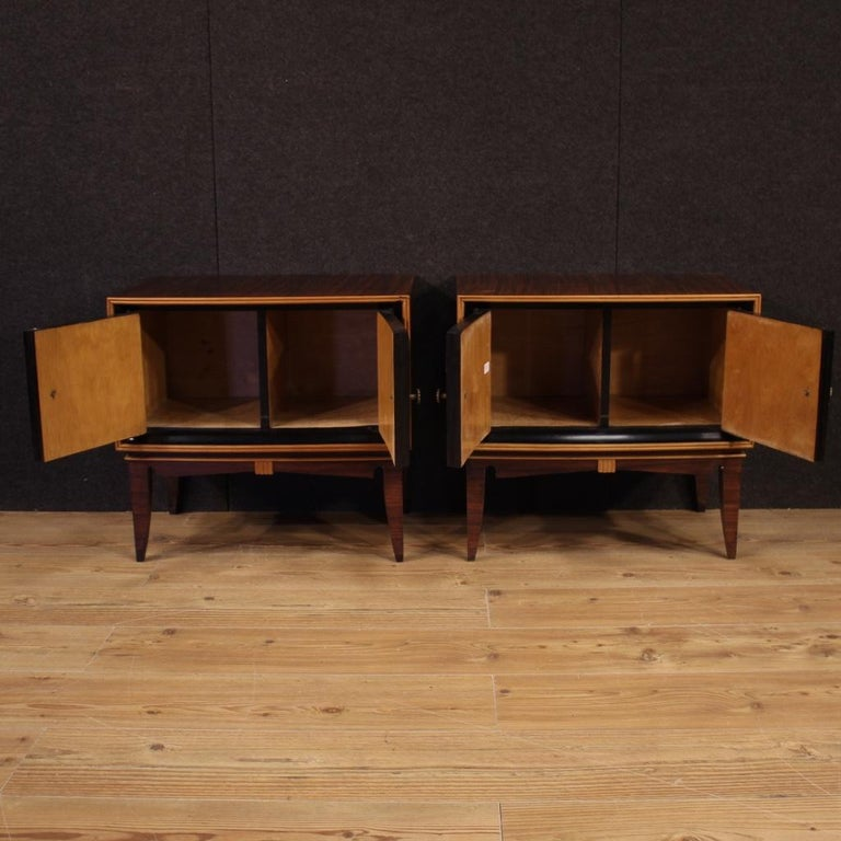 Pair of 20th Century Palisander Exotic Wood Italian Design Nightstands, 1960 In Good Condition For Sale In Vicoforte, Piedmont
