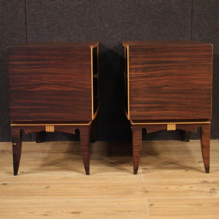 Pair of 20th Century Palisander Exotic Wood Italian Design Nightstands, 1960 For Sale 1