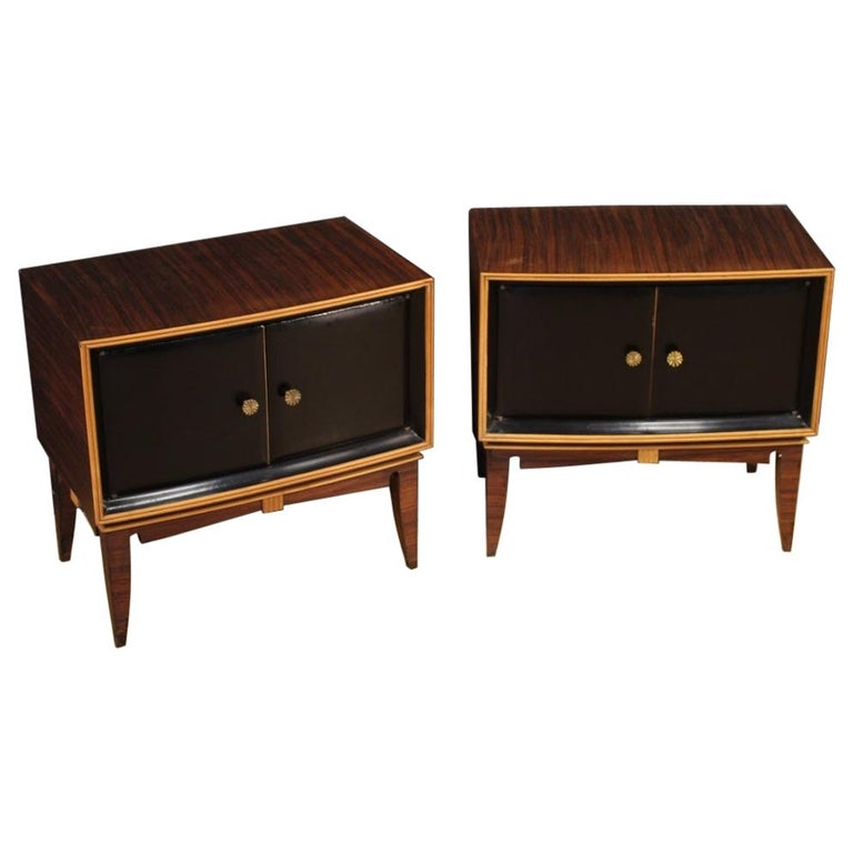 Pair of 20th Century Palisander Exotic Wood Italian Design Nightstands, 1960 For Sale