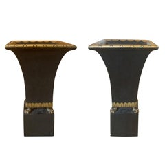 Pair of 20th Century Palladio Style Black Painted & Gilt Wooden Cachepots
