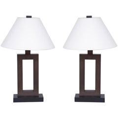Pair of 20th Century Patinated Brass Lamps