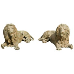 Pair of 20th Century Patinated Bronze Lions
