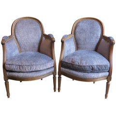 """Pair of 20th Century Petite Bergères with New Upholstery """"Children's Chairs"""""""