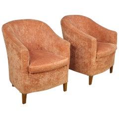 Pair of 20th Century Pink Velvet and Beech Italian Design Armchairs, 1970
