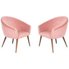 Pair of 20th Century Pink Velvet Shell Club Armchairs, 1960s
