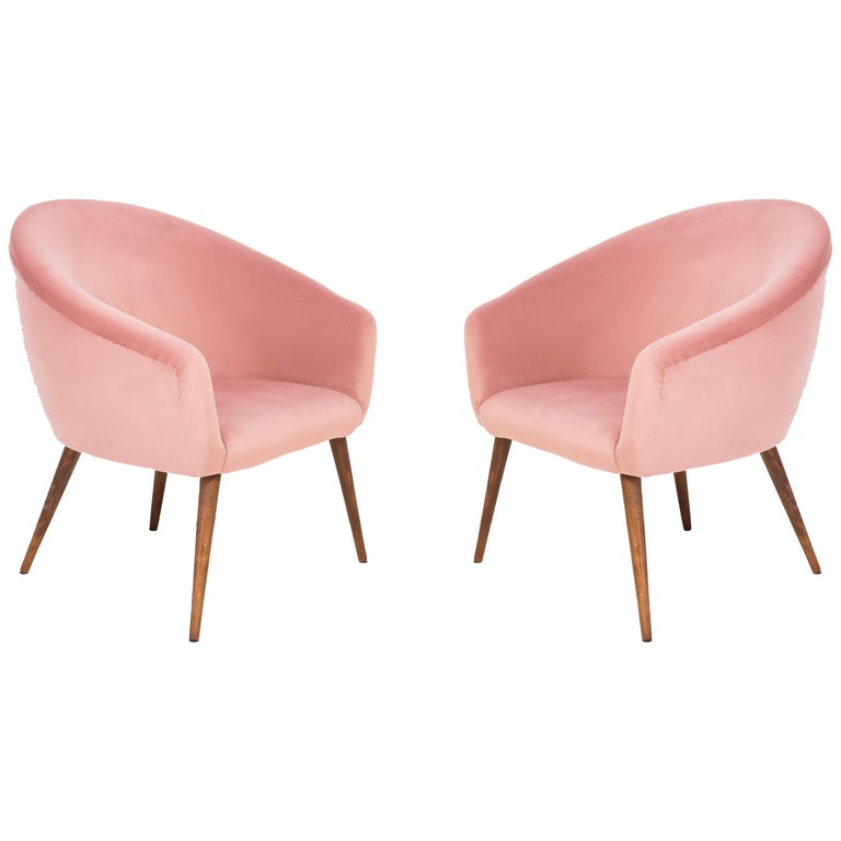 Pair of 20th Century Pink Velvet Shell Club Armchairs, 1960s For Sale