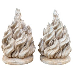Pair of 20th Century Plaster Flames, Signed by Marlo