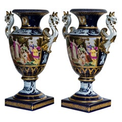 Pair of 20th Century Porcelain, Dragon Handled  Vases