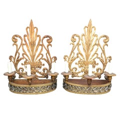 Pair of 20th Century Possibly Earlier Crystal and Gilt Tole Sconces