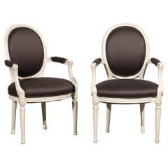 Pair of 20th Century Probably DeAngelis Louis XVI Style Armchairs