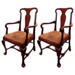 Pair of 20th Century Queen Anne Style Mahogany Armchairs with Suede Seats