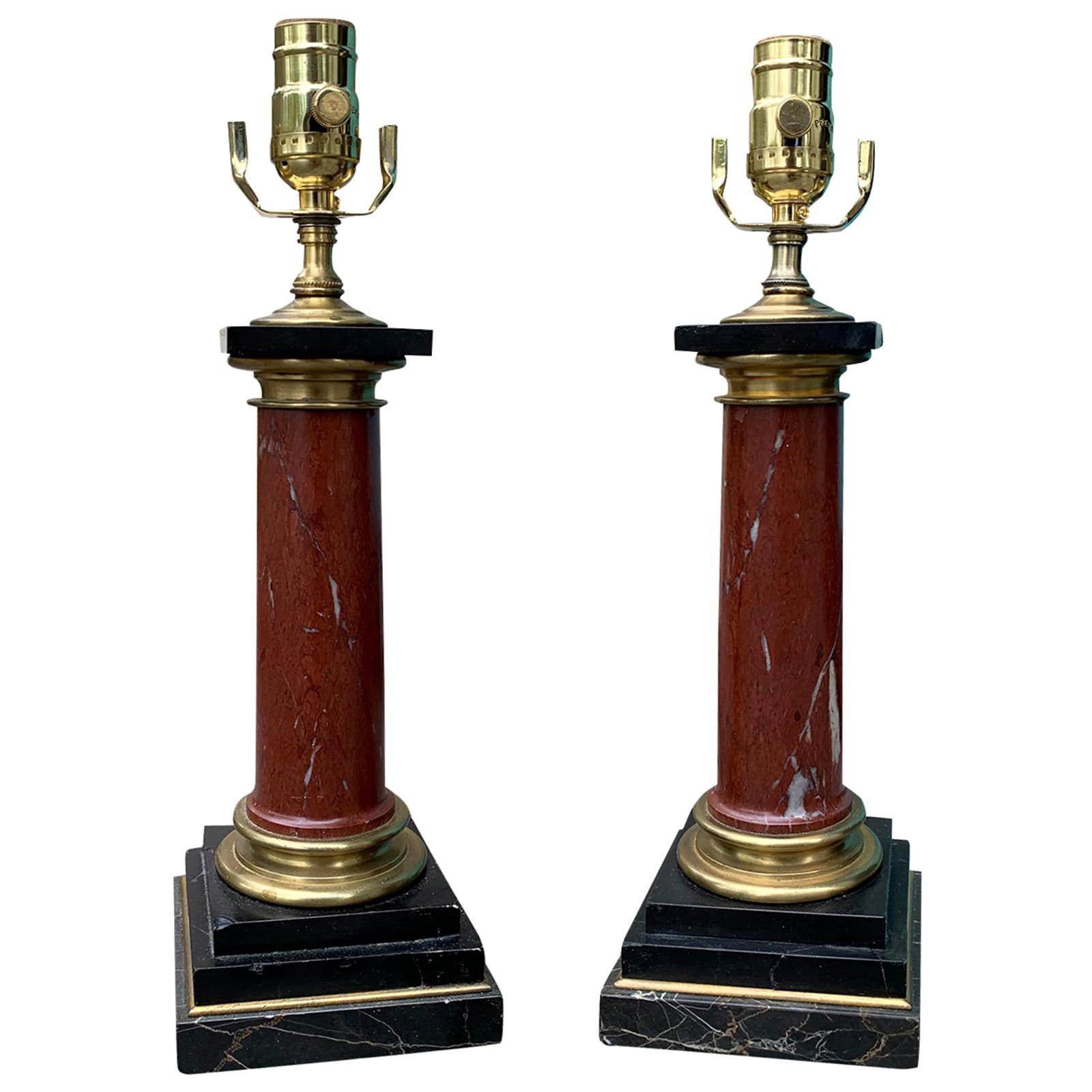 Pair of 20th Century Red and Black Marble Table Lamps